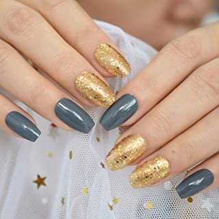 CoolNail Gold Glitter Scale Ballerina Coffin False Nail Tips Grey Press on Daily Office Finger Wear Acrylic Fake Nails With Glue Sticker
