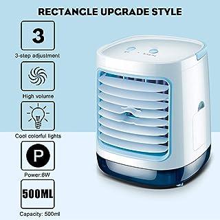 SND-A Aire Acondicionado Portátil,Refrigerador De Aire con Luz Nocturna,Ventilador De Enfriamiento De Aire De Escritorio USB,Humidificación Atomizadora Purifica para La Oficina En El Hogar,Azul