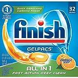 Finish All in 1 Gelpacs Orange, 32ct, Dishwasher...
