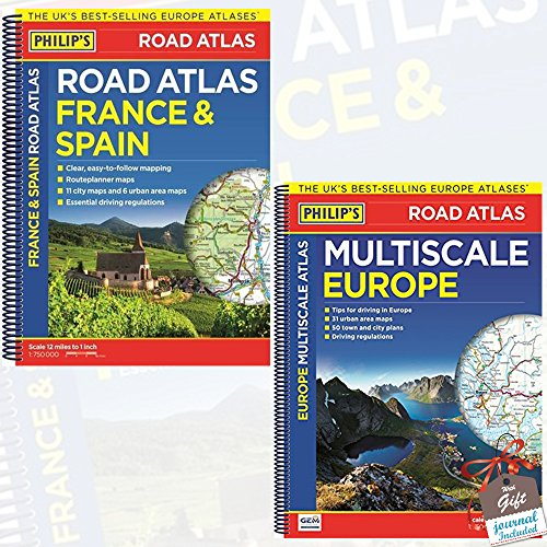 Price comparison product image Philips Road Atlas Collection 2 Books Bundle With Gift Journal (Philip's France and Spain Road Atlas: Spiral,  Philip's Multiscale Europe: Spiral A3 [Spiral-bound])