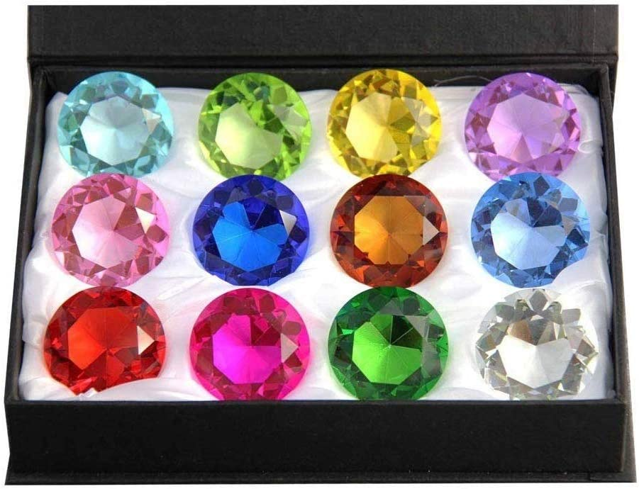 Zoogamo 60mm Diamond Spring new work one after another Shaped low-pricing Paperweight Glass Crystal Multicolor