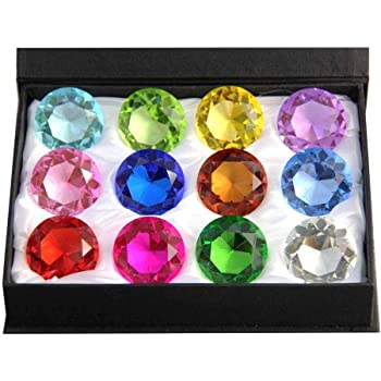 Zoogamo 30mm Diamond Shaped Multicolor Glass Crystal Paperweight – 12 Pieces Home Office Decor & Wedding Favors Decoration with Gift Box
