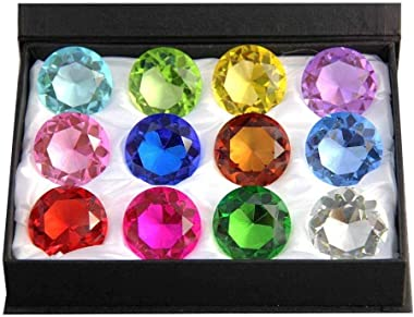 Zoogamo 30mm Diamond Shaped Multicolor Glass Crystal Paperweight – 12 Pieces Home Office Decor & Wedding Favors Decoration wi