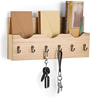 LIANTRAL Wall Mount Mail Holder Organizer Mail Sorter with 3 Storage compartments Entryway Organizer with 6 Key Hooks