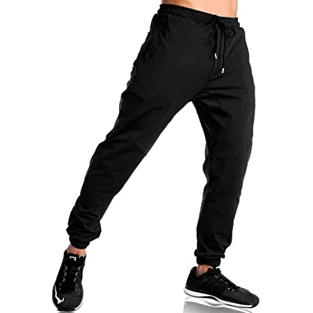 donhobo Mens Zip Leg Gym Joggers Sweatpants Slim Fit Casual Trousers with Double Pockets