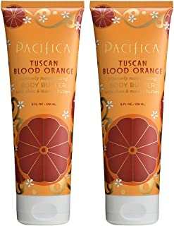 Pacifica Tuscan Blood Orange Body Butter (Pack of 2) with Shea Butter, Jojoba Seed Oil, Cocoa Butter, Flax Seed Oil, Kukui Nut Oil and Vitamin E, 100% Vegan and Cruelty-Free, 8 oz