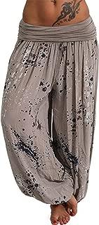 New Hot Fashion Womens Casual Print Pant Wide Leg Pants Loose Pocket Floral Harem Pants