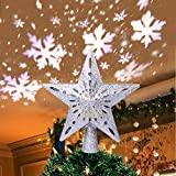 AerWo Christmas Tree Topper Lighted Star Tree Topper with Rotating Snowflake Projector Lights, 3D Glitter Hollow Star Tree Topper for...