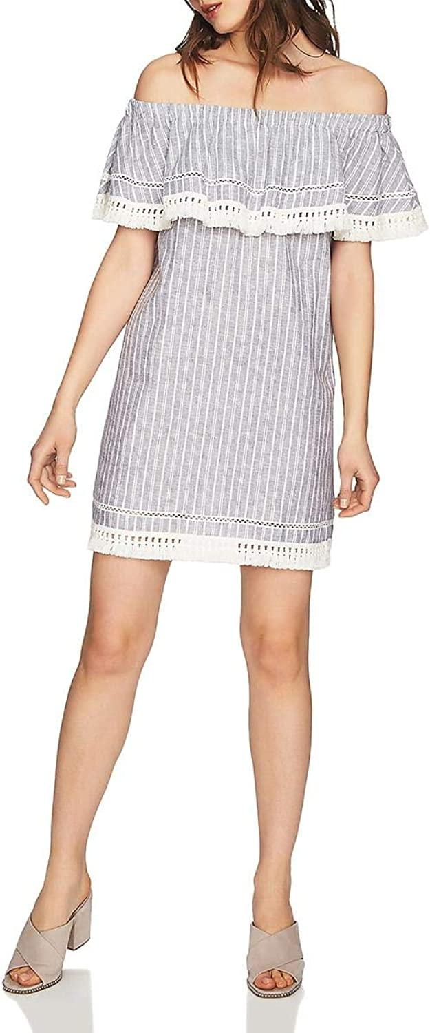 1.STATE Womens Striped Embroidered Mini Dress
