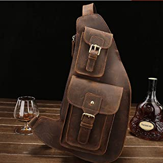 Large capacity Saddle Handbag, Leather Croissant, Motorcycle Handbag, Reasonable Layout American Vintage Oil-immersed Leather Chest Handbag, Riding Handbag Crazy Horse Leather Shoulder Handbag, sturdy