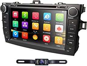 hizpo Car DVD Player 8 Inch Touch Screen GPS Stereo iPhone Music/AM FM Radio/SWC/Bluetooth/AV-in Map Card + Rear Camera Fit F or Toyota Corolla 2007 2008 2009 2010 2011