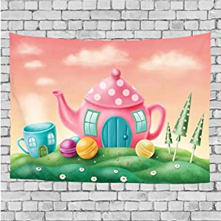 ZZ1QIU Art Nature Wall Hanging Bedding Tapestry, Fantasy Teapot and Teacup Houses Wonderland Meadow Teatime Happiness Artwork,for Living Room Bedroom Dorm Decor(40x60 Inches)