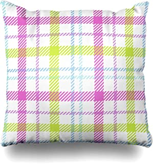 Ahawoso Decorative Throw Pillow Cover Color Pink Buffalo Plaid Abstract Yellow Vintage Casual Check Checkered Chequered Classic Tartan Home Decor Zippered Square Size 20