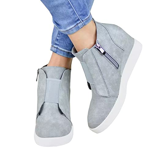 Womens Platform Sneakers Hidden Wedges Side Zipper Faux Suede Perforated Ankle Booties