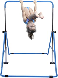 Tepemccu Expandable Gymnastics Bars Adjustable Height Gymnastic Horizontal Bars Junior Training Bar Children Folding Training Monkey Bars for Kids