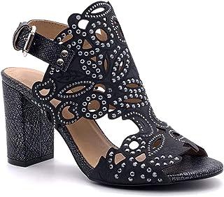 Angkorly - Chaussure Mode Sandale Escarpin Hauts Talons soirée Mariage cérémonie Femme Effet Serpent Python Strass Diamant...