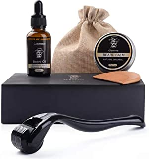 Best Beard Growth Kit, Derma Roller with Beard Growth Oil Serum for Men Patchy Facial Hair Growth Titanium Microneedle + Balm Wax + Comb, Best Gift for Men Review