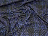 Lady McElroy Boucle Tweed-Stoff, Schwarz/Blau, Meterware
