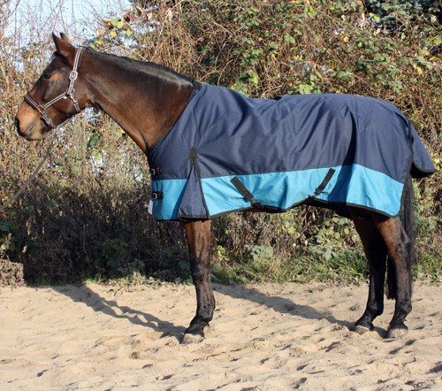 jw reitsport Winterdecke 600denier 100gr Navy aquamarin 135cm