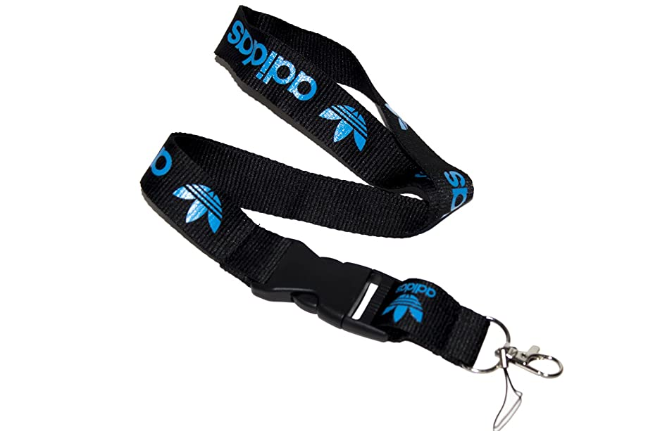 Black & Blue Logo Keychain Key Chain Black Lanyard Clip with Webbing Strap Quick Release Buckle (PCK-035)