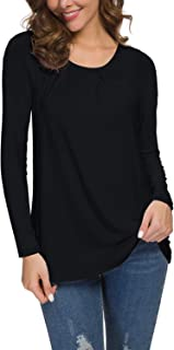 Women's Longsleeve Pleated Back Closure Casual Tee Tops
