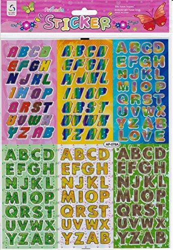 Lettres ABC Multicolore autocollants 172 Pièces 1 feuilles 250 mm x 200 mm Stickers bricolage enfants PARTY