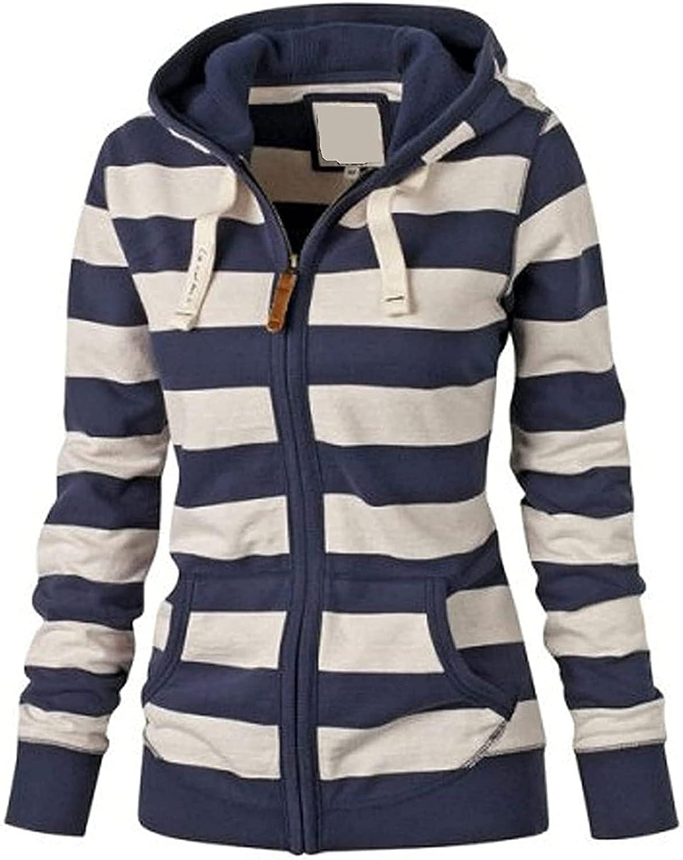 justHIGH Stripe Hoodies for Women Full-Zip Long Sleeeve Comfortable Lightweight Pocket Sweatshirts Coat