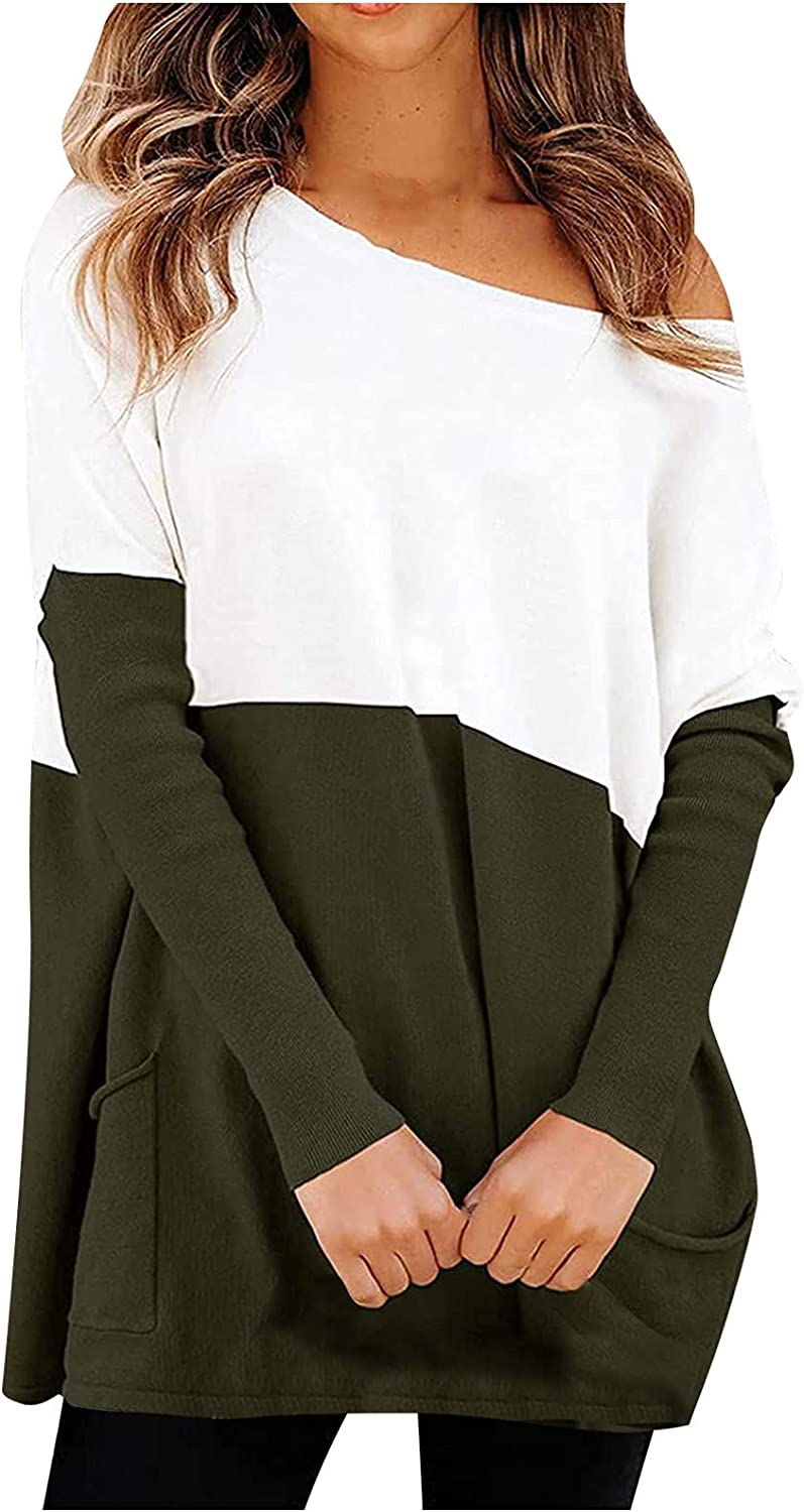 RFNIU Women's Fall Fashion Casual Loose Colorblock Knitted Sweater Long Sleeve Oblique Collar Pullover T-shirt Top