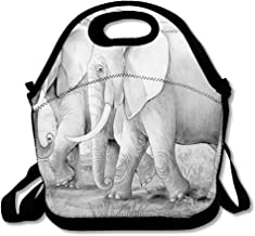 Reusable Lunch Bag for Men Women Grey African Safari Elephants Coloring Page Outline Children Africa Black White Color Design Lineart Insulated Lunch Tote for Travel Office School