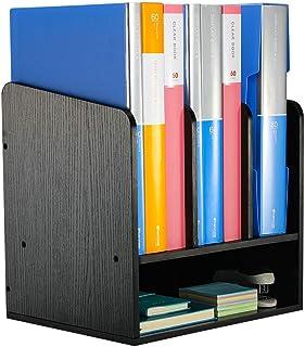 EasyPAG Wood Desktop A4 File Holder Folder Organiser Magazine Storage Versatile Desk Tidy Filing Tray,Black,320x318x254mm