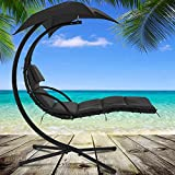 Heavy Duty Patio Chair with C Stand Hanging Chaise Lounger Swing Lounge Chair Floating Chaise Canopy Hammock Arc Stand Air Porch Stand With Canopy and Pillow for Outdoor Indoor,280LBS Capacity