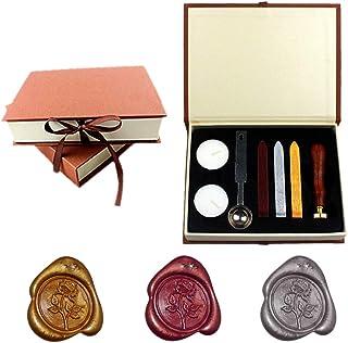 Yuccer Sceau Cire, Cire a Cacheter Kit Cachet de Cire Tampon Cire Lettre Rétro Seal Wax Kit Kit pour Cachets en Cire Gift ...