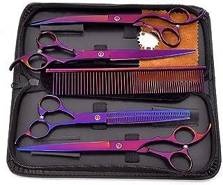 8インチペットグルーミングはさみセット4、ステンレス鋼パープルペットプロフェッショナル理髪フラットせん断+歯はさみセット モデリングツール (色 : 紫の)