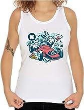 Cartoon stijl schedel Formule Racing Pizza en drin...