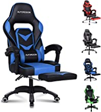 ALFORDSON Gaming Chair Racing Chair Executive Sport Office Chair with Footrest PU Leather Armrest Headrest Home Chair (Gordon Blue)