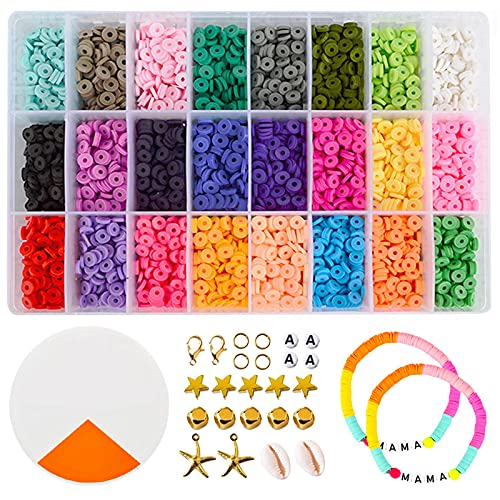 GreeSuit Abalorios Pulseras para Collares Arcilla polimérica Abalorios para Hacer Kit Pulseras Regalo para niños 24 Colores Brillantes