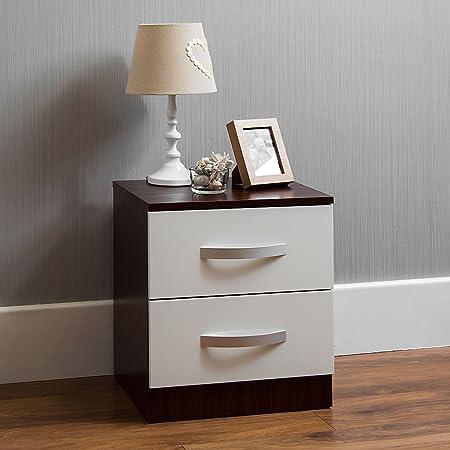 Marque Amazon - Movian Haute brillance 2 Tiroir Table de chevet, Blanc et Noyer, 47 x 40 x 36 cm
