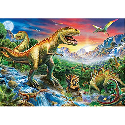 Faraway Dinosaur 5d DIY Round Diamond Painting by Number Kits Animal Picture Kids Love Paint Diamond Embroidery Kits Mosaic Painting for Wall Decor 12X16inch
