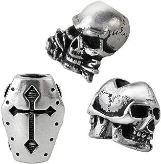 Alchemy Hair Beard Rings Beads SET of 3 Janus Skull Coffin Alchemist Skull