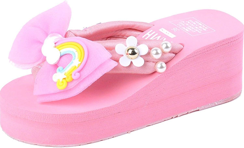Btrada Women's Bowknot Sandals Summer Beach Platform Flip-Flops Cute Wedges
