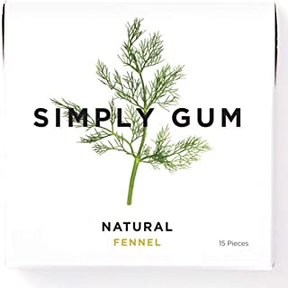 Simply Gum | Natural Chewing Gum | Fennel | Pack of Six (90 Pieces Total) | Plastic Free + Aspartame Free + non GMO