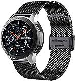 MUENShop 22mm Quick Release Armband Schwarz Edelstahl Ersatzband Uhrenarmband Kompatibel für Samsung/Huawei Watch