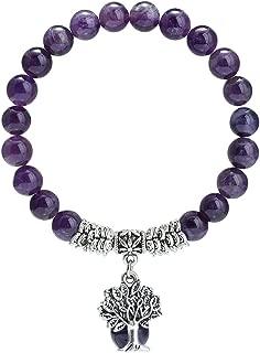Beaded Bracelets Semi Precious Stone Yoga Beads Healing Crystals Tree of Life Charm Chakra Bracelet Handmade Jewelry for Women