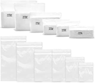 600 Pack 2 Mil Thick Poly Ziplock Bags, 6 Assorted Sizes, 1.5x2 2x2 2x3 3x3 3x4 3x5 Inch. Clear Durable Food Grade Safe PP Plastic Resealable Zipper Baggies for Jewelry, Bead, Toy Piece, Pill, Snack.