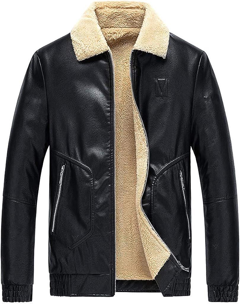 eipogp Men's Winter Faux Leather Jackets Sherpa Lined Outwear Warm Zipper Pocket Motorcycle Coat