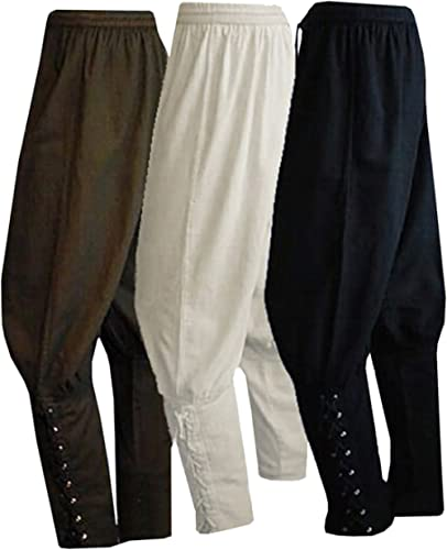 Men's Ankle Banded Pants Medieval Viking Navigator Pirate Costume Trousers Renaissance Gothic Pants