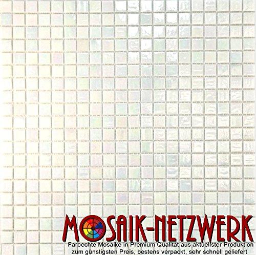 Glasmosaik Fliesen weiß perlmutt Wand Boden Dusche WC Küche | 10 Matten | Art: es-89146_f