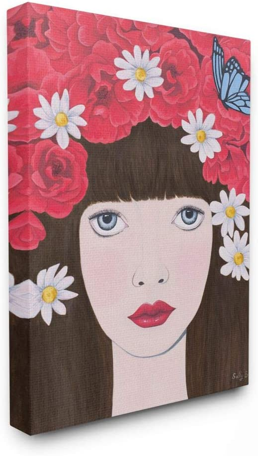 Stupell Industries Flower Super-cheap Headdress Red New mail order b Design Woman Painting