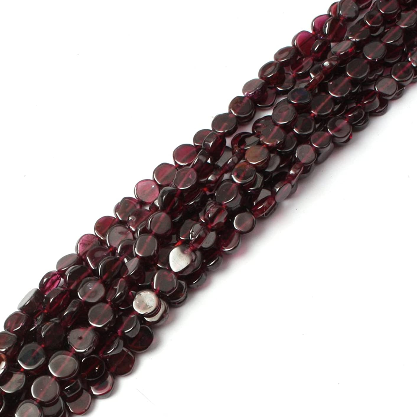Garnet Beads for Jewelry Making Natural Gemstone Semi Precious 6mm Coin 15
