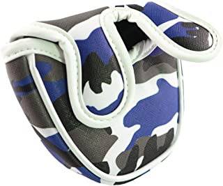 ANNIU Mallet Putter Headcover Golf Putter Cover Mallet Mini Golf Club Standard Size Golf Mallet Putter Cover Golf Accessories for Pusher Sleeve Semi-Circular and Camouflage Blue